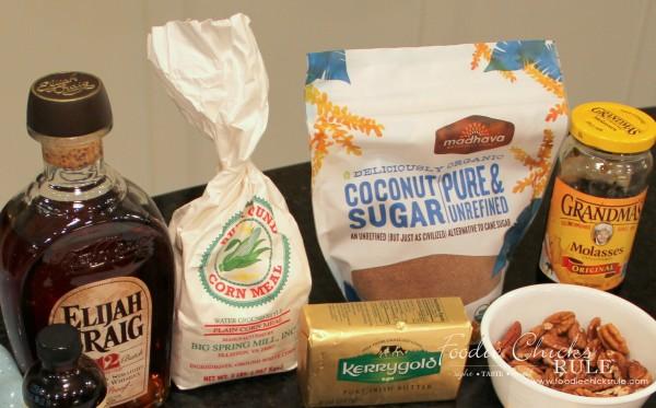 Bourbon Chocolate Pecan Pie - Ingredientd for this EASY recipe - #recipe #bourbon #chocolate #pie foodiechicksrule