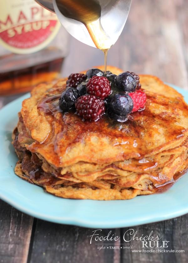 Ground Oats & Spelt Pancakes - Healthier Recipe - #pancakes #breakfast #groundoatmeal #spelt #foodiechicksrule foodiechicksrule.com