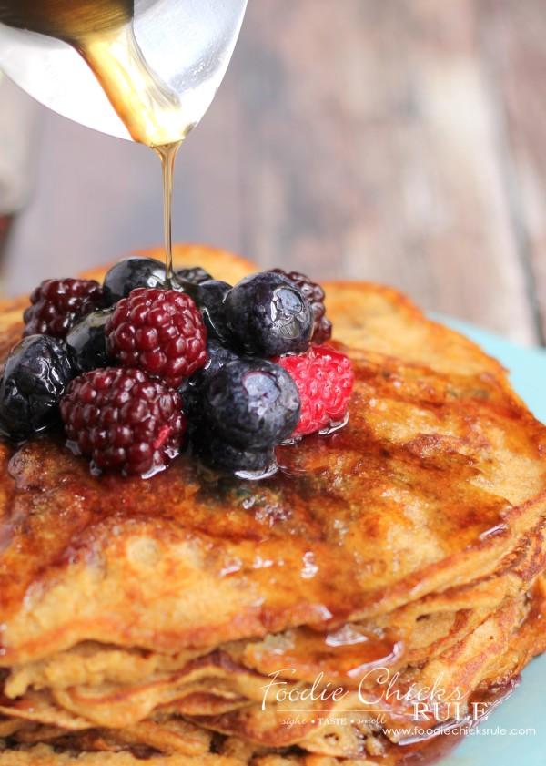 Ground Oats & Spelt Pancakes - Healthier - #pancakes #breakfast #groundoatmeal #spelt #foodiechicksrule foodiechicksrule.com