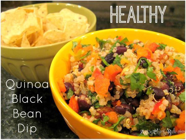 Healthy Quinoa Black Bean Dip - #healthy #quinoa foodiechicksrule.com