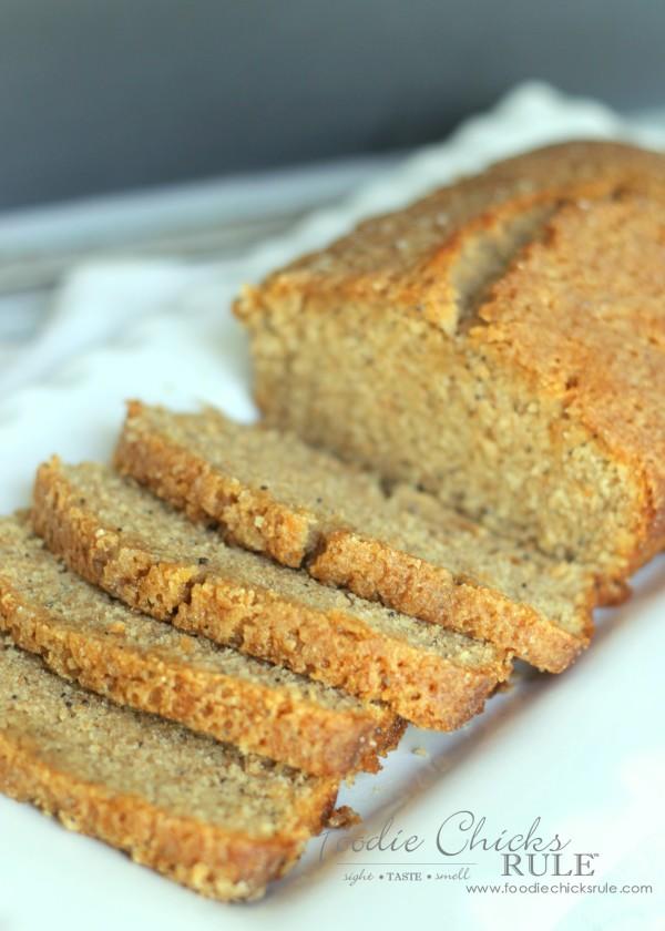 Almond Poppyseed Loaf - Easy Dessert - foodiechicksrule.com #easydessert #almondpoppyseed #orangeglaze