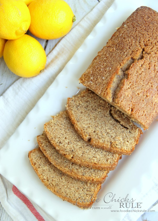 Almond Poppyseed Loaf - Made with Organic Whole Wheat Flour - foodiechicksrule.com #easydessert #almondpoppyseed #orangeglaze