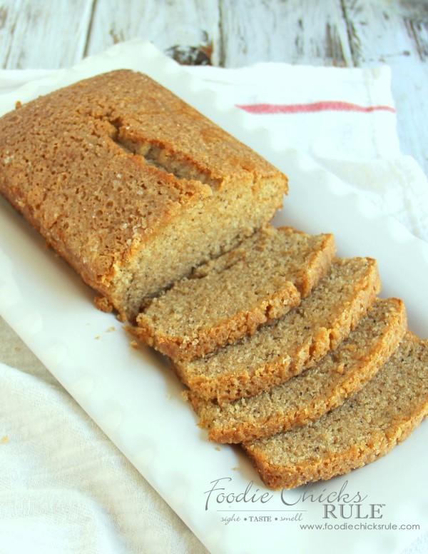 Almond Poppyseed Loaf - One bowl dessert - foodiechicksrule.com #easydessert #almondpoppyseed #orangeglaze