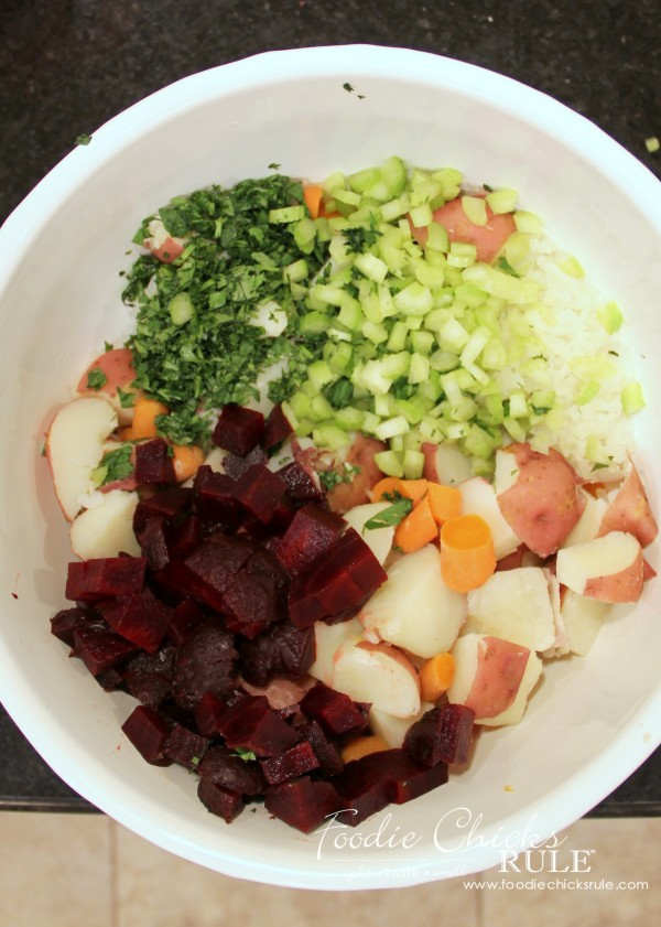 Beet, Carrot & Potato Salad - Add ingredients and mix! - #recipe #potatosalad foodiechicksrule.com