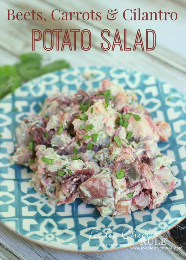 Beet, Carrot & Potato Salad - Fun twist on an old favorite! - #recipe #potatosalad #cilantro oodiechicksrule.com