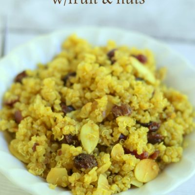Curried Quinoa with Cranberries, Almonds & Raisins