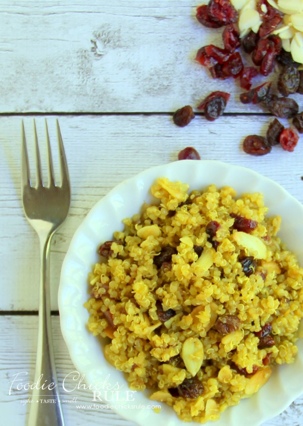 Curried Quinoa with Cranberries, Almonds & Raisins - Very healthy recipe! #recipe #healthy foodiechicksrule.com