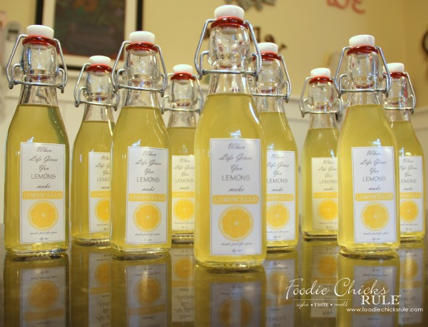Homemade Limoncello - Easier than you think! - Bottles - #limoncello foodiechicksrule.com