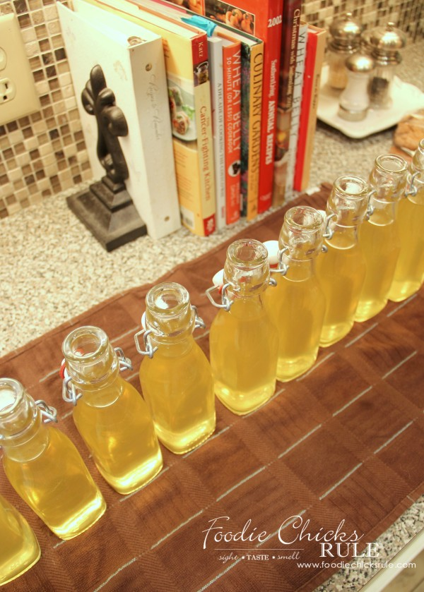 Homemade Limoncello - Easier than you think! - pour it - #limoncello foodiechicksrule.com