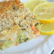 Lemony Broccoli Rice Casserole w/Salmon (one bowl – one dish!)