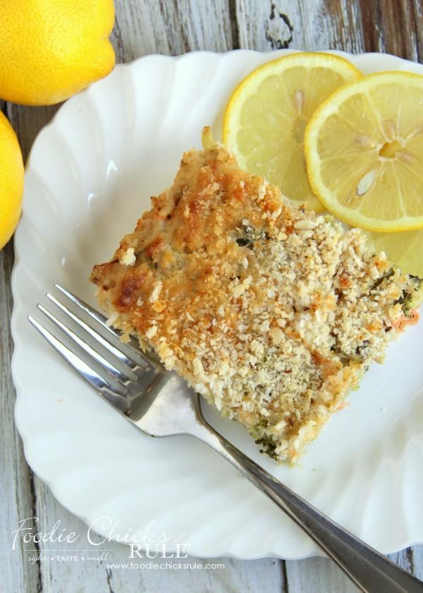 Lemony Broccoli Rice & Salmon Casserole - ONE BOWL! -Quick & Easy Recipe - foodiechicksrule.com