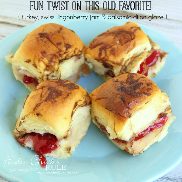 Turkey, Swiss Rolls with Lingonberry & Balsamic Glaze - Fun twist from the ham dijon rolls!  - #balsamic #recipe #turkey foodiechicksrule.com