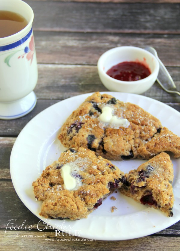 Whole Wheat English Blueberry Scones - Delicious and easy to make! #recipe #scones foodiechicksrule.com