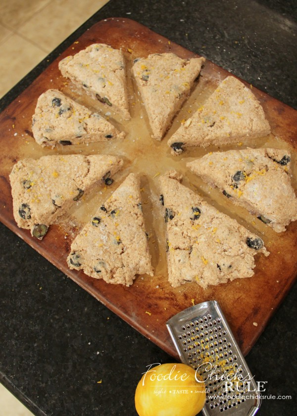 Whole Wheat English Blueberry Scones - pat into a circle and cut #recipe #scones foodiechicksrule.com