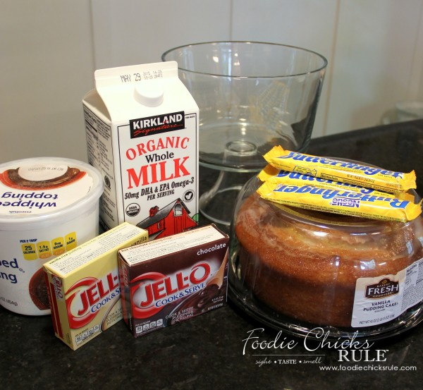 Butterfinger Trifle Recipe- Ingredients Needed  #butterfingerdessert #trifle #butterfingertrifle foodiechicksrule.com
