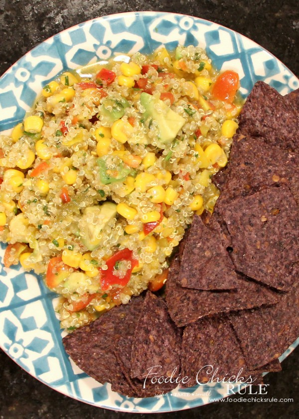 Avocado, Corn & Quinoa Salsa - LOVE this stuff - #avocado #quinoa #salsa foodiechicksrule.com