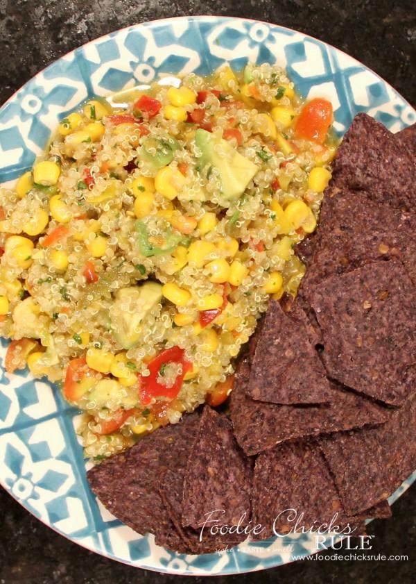 Avocado, Corn & Quinoa Salsa - LOVE this stuff - #avocado #quinoa #salsa foodiechicksrule.com