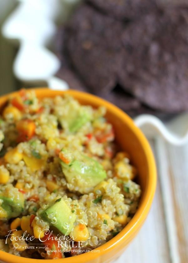 Avocado, Corn & Quinoa Salsa - SO HEALTHY and GOOD - #avocado #quinoa #salsa foodiechicksrule.com