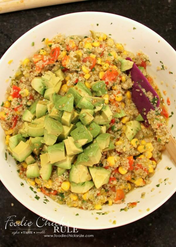 Avocado, Corn & Quinoa Salsa - add avocado last - #avocado #quinoa #salsa foodiechicksrule.com