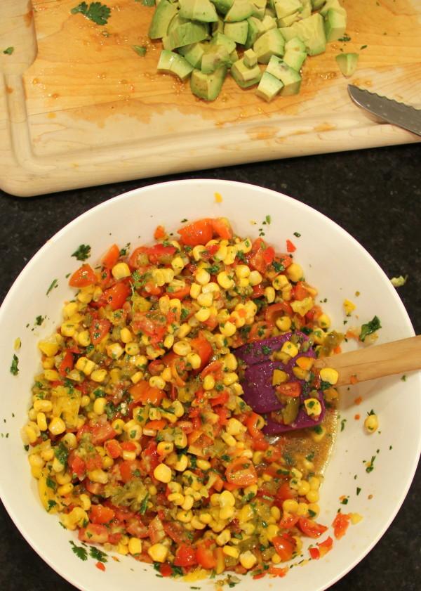 Avocado, Corn & Quinoa Salsa - mix ingredients together - #avocado #quinoa #salsa foodiechicksrule.com