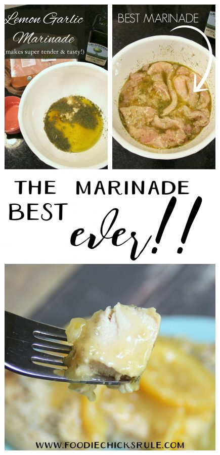 This is the BEST and the EASIEST marinade ever!! Love it! foodiechicksrule.com #lemongarlicmarinade #bestmarinade #marinade