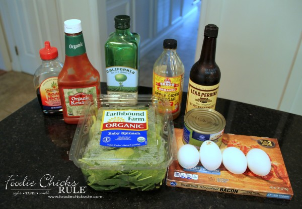 Warm Spinach, Egg, Bacon Salad - Ingredients - #recipe #spinach foodiechicksrule.com