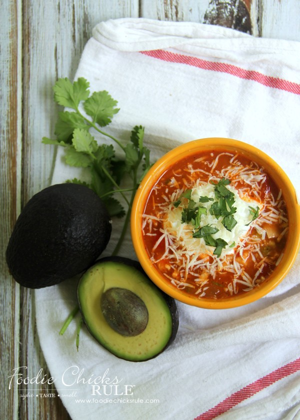 Chicken Taco Soup - add yummy toppings - #recipe #chickensoup #foodiechicksrule