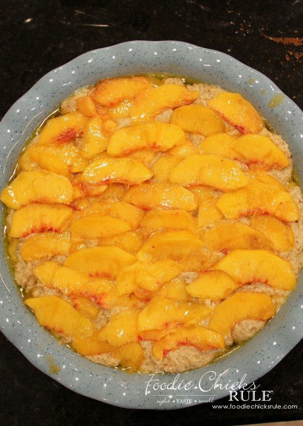 Gluten Free Peach Cobbler - Ready for the oven - #peach #cobbler #glutenfree foodiechicksrule
