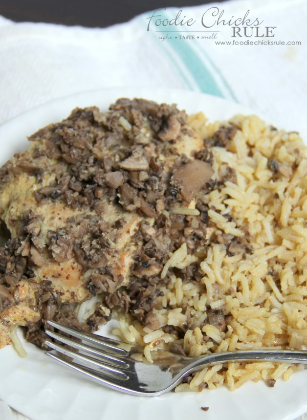 Honey Dijon Chicken with Rice - and mushrooms - A Favorite! -foodiechicksrule #easyrecipe #onedish