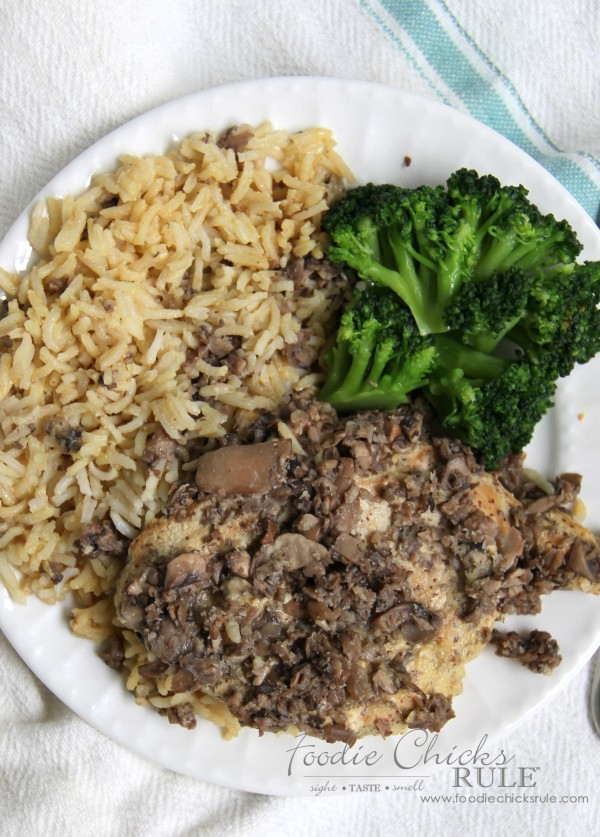 Honey Dijon Chicken with Rice - and mushrooms - ONE Dish! -foodiechicksrule #easyrecipe #onedish