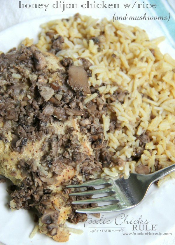 Honey Dijon Chicken with Rice - and mushrooms -  So EASY! -foodiechicksrule #easyrecipe #onedish
