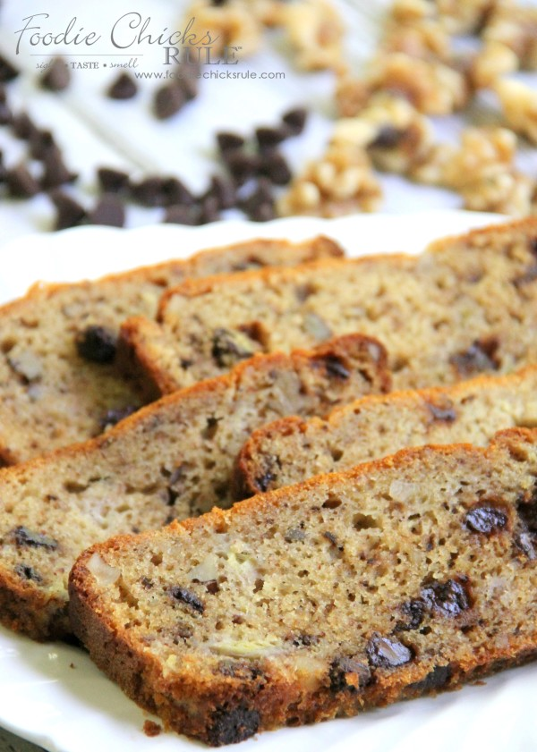 Gluten Free Banana Nut Bread - with Chips - foodiechicksrule