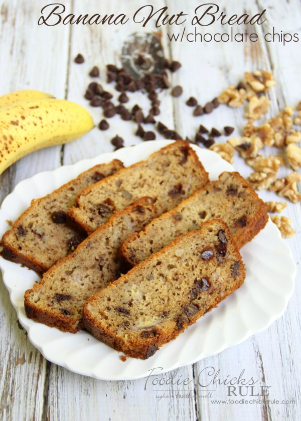 Gluten Free Banana Nut Bread - with Chocolate Chips - foodiechicksrule