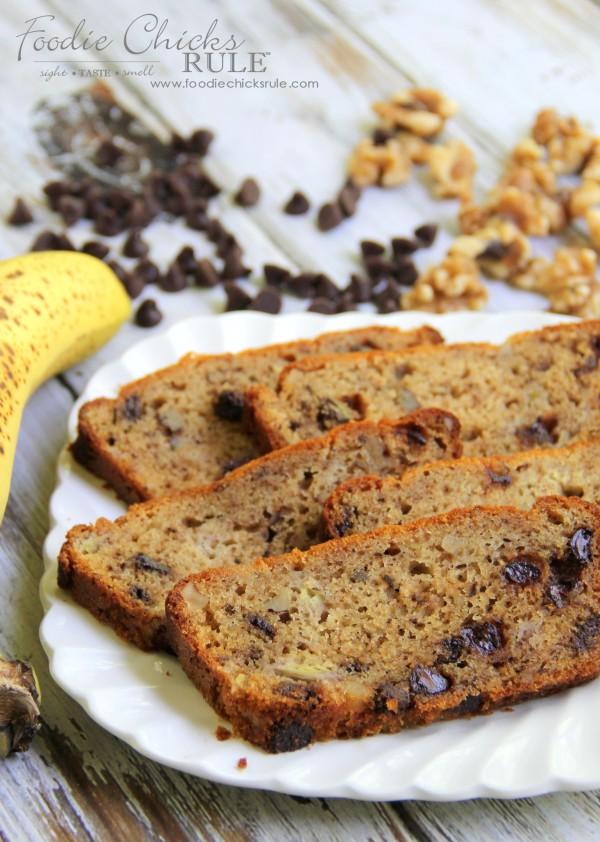 Gluten Free Banana Nut Bread - with Chocolate - foodiechicksrule