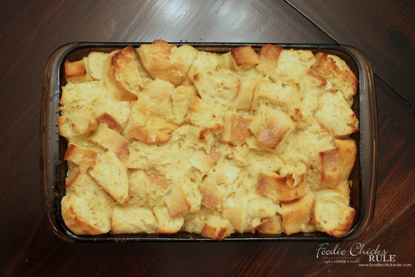 Bread Pudding with Brown Sugar Bourbon Sauce - After cooked in pan - foodiechicksrule #breadpudding #bourbonsauce