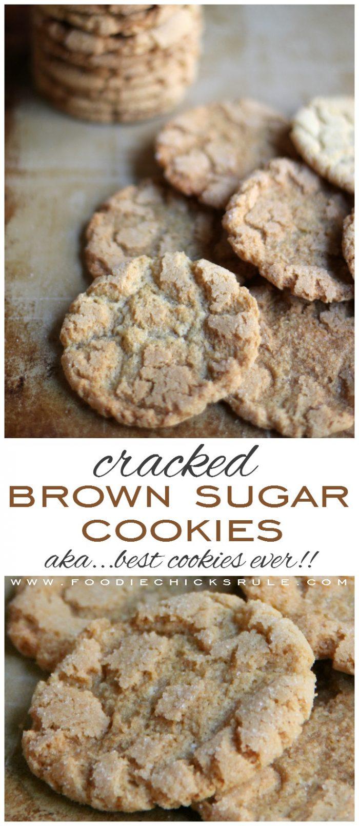Cracked Brown Sugar Cookies - AKA.... THE best cookie ever!! foodiechicksrule.com #crackedbrownsugar #brownsugarcookies #sugarcookies #cookierecipes