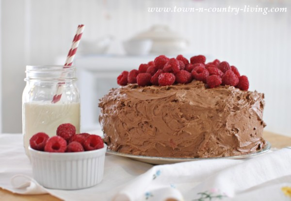 Dark Choc Raspberry Cake - Town and Country Living