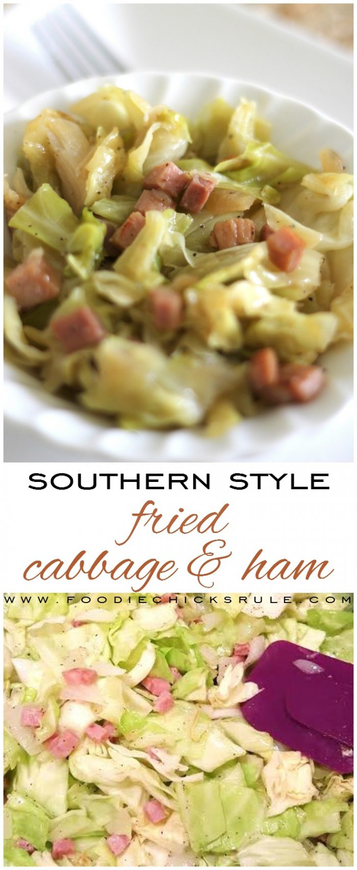 Southern Style Fried Cabbage & Ham, so good!! (and easy!!) foodiechicksrule.com #friedcabbageandham #cabbageandham #southernfood