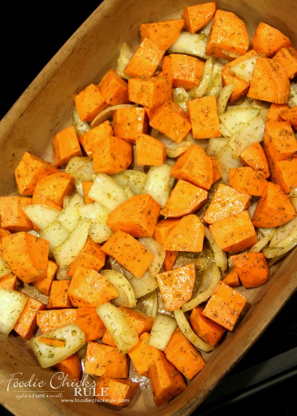 Oven Roasted Sweet Potatoes - ready for the oven - foodiechicksrule