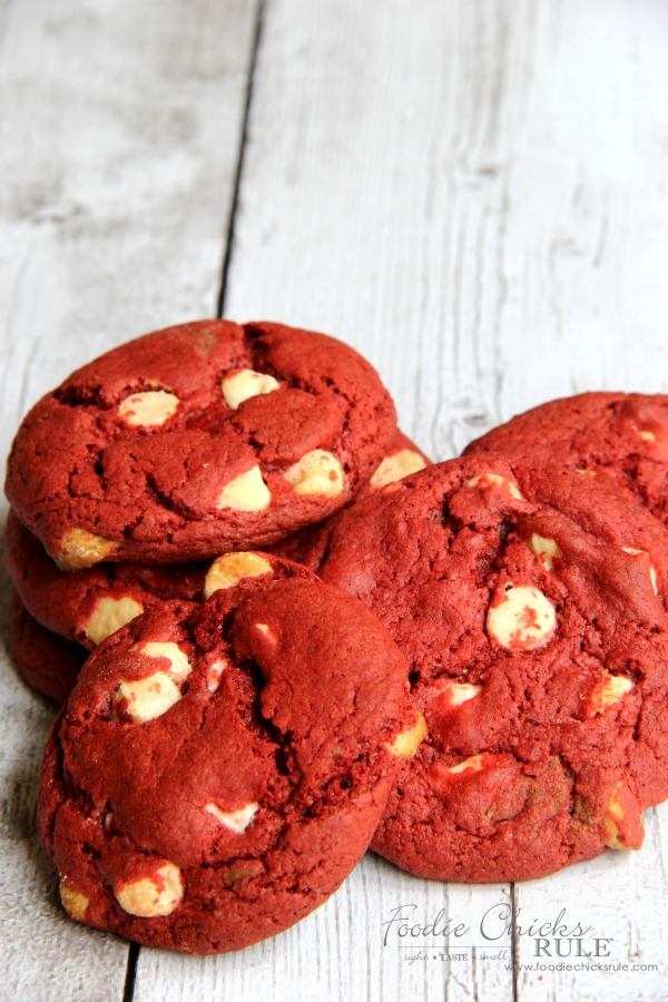 Easiest Red Velvet Cookie Recipe foodiechicksrule.com