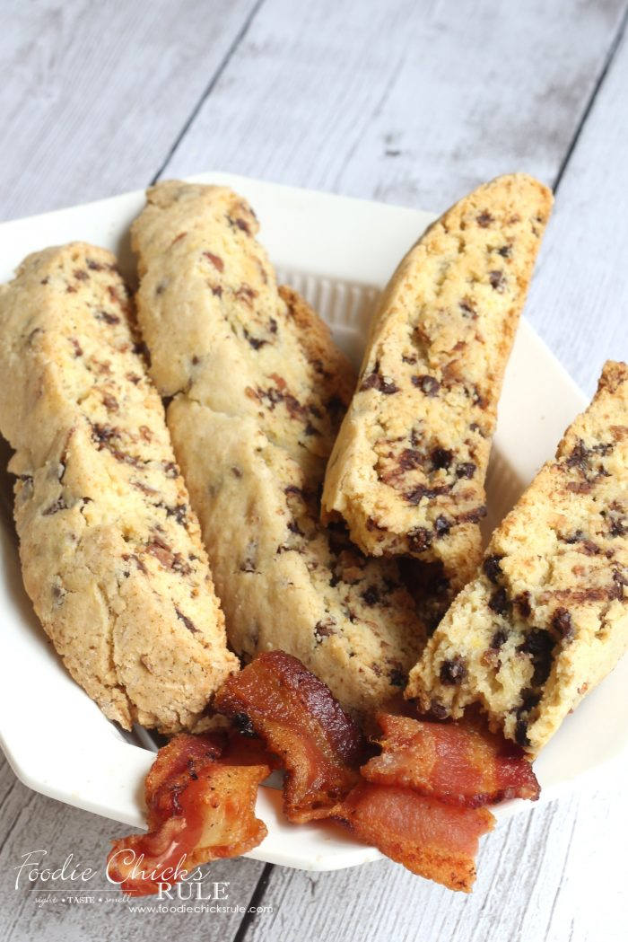 Yummy Chocolate Maple Bacon Biscotti - foodiechicksrule.com