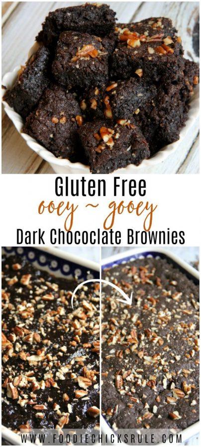 Ooey - Gooey Goodness! Gluten Free Dark Chococlate Brownies Recipe foodiechicksrule.com