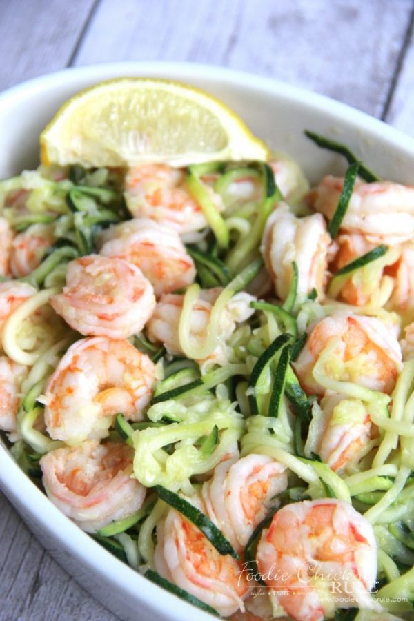 Lemon Garlic Shrimp Zoodles Recipe foodiechicksrule.com