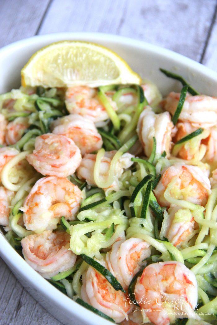 Lemon Garlic Shrimp Zoodles Recipe foodiechicksrule.com