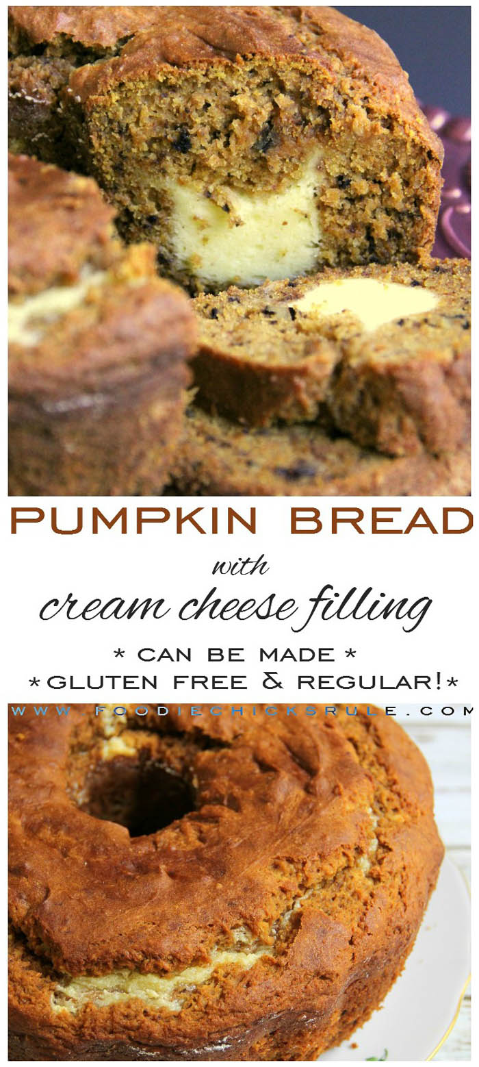 Gluten Free Pumpkin Bread with Cream Cheese Filling foodiechicksrule.com #glutenfree #glutenfreepumpkinbread #pumpkinbread #creamcheesefilling