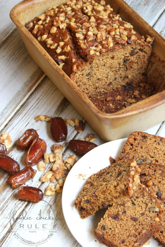 Old Fashioned Date Walnut Bread foodiechicksrule.com #oldfashioned #datewalnutbread #datebread #easyrecipe