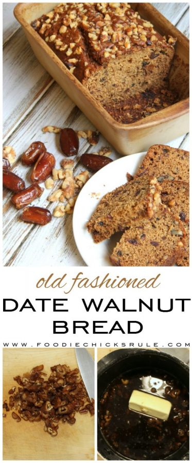 Love this bread!! Old Fashioned Date Walnut Bread foodiechicksrule.com #oldfashioned #datewalnutbread #datebread #easyrecipe