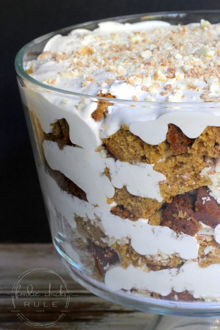 Pumpkin Bread Trifle Surprise! foodiechicksrule.com #glutenfree #pumpkintrifle #pumpkinbread #dessert #thanksgivingdesserts