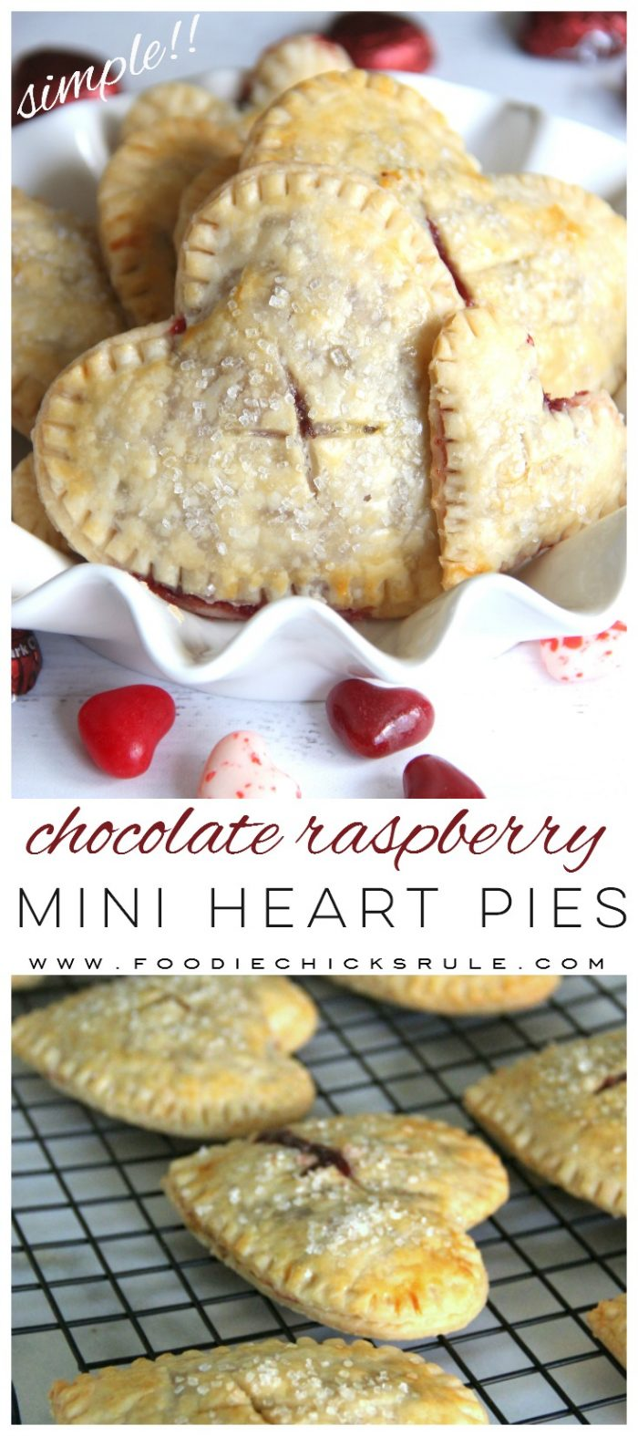 Chocolate Raspberry Mini Heart Pies ... Perfect for Valentine's Day! (or any day! ;) ) foodiechicksrule.com #valentinesdaydesserts #chocolateraspberry #miniheartpies #heartshapeddesserts #easydesserts #valentinesdessertideas