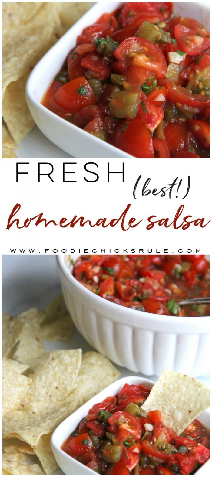 Best Homemade Salsa!! So fresh and SO easy to make! foodiechicksrule.com #mexicanfood #homemadesalsa #bestsalsarecipe #mexicanrecipes